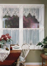 Heritage Lace Tea Rose Curtain Collection, White