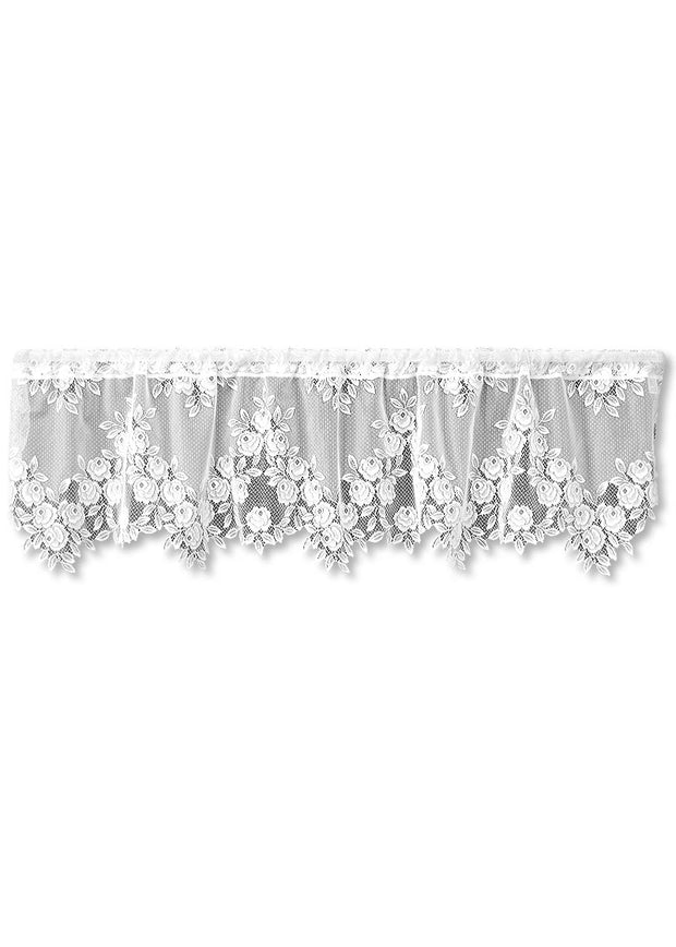Heritage Lace Tea Rose Valance, White