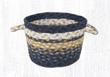 "Capitol Earth Rugs Light & Dark Blue/Mustard Braided Utility Basket, Mini 8"" x 6"""