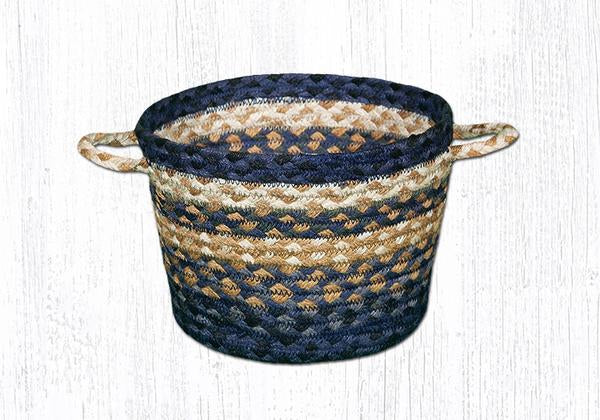 "Capitol Earth Rugs Light & Dark Blue/Mustard Braided Utility Basket, Small 9"" x 7"""