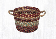 "Capitol Earth Rugs Burgundy/Grey/Cream Braided Utility Basket, Mini 8"" x 6"""