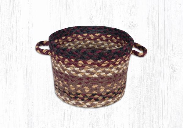 "Capitol Earth Rugs Black Cherry/Chocolate/Cream Braided Utility Basket, Small 9"" x 7"""