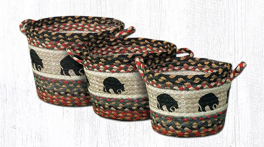 Capitol Earth Rugs Black Bear Printed Utility Basket Collection