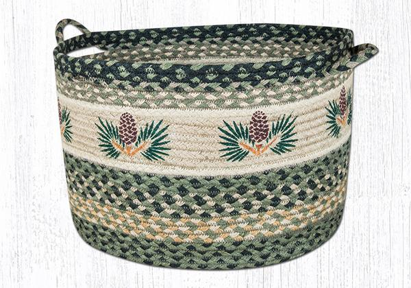 "Capitol Earth Rugs Pinecone Printed Utility Basket, Large 17"" x 11"""