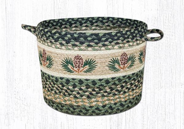 "Capitol Earth Rugs Pinecone Printed Utility Basket, Medium 13"" x 9"""