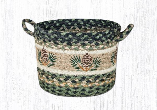 "Capitol Earth Rugs Pinecone Printed Utility Basket, Small 9"" x 7"""