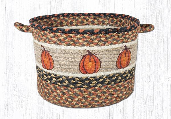 "Capitol Earth Rugs Harvest Pumpkin Printed Utility Basket, Medium 13"" x 9"""