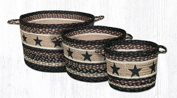 Capitol Earth Rugs Black Star Printed Utility Basket Collection