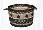 "Capitol Earth Rugs Black Star Printed Utility Basket, Medium 13"" x 9"""