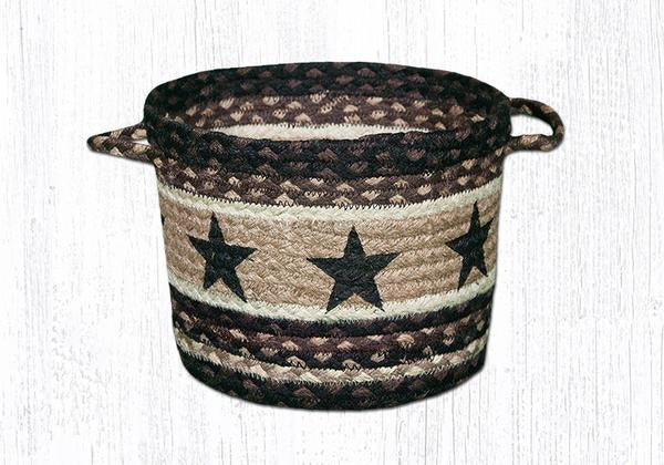 "Capitol Earth Rugs Black Star Printed Utility Basket, Small 9"" x 7"""