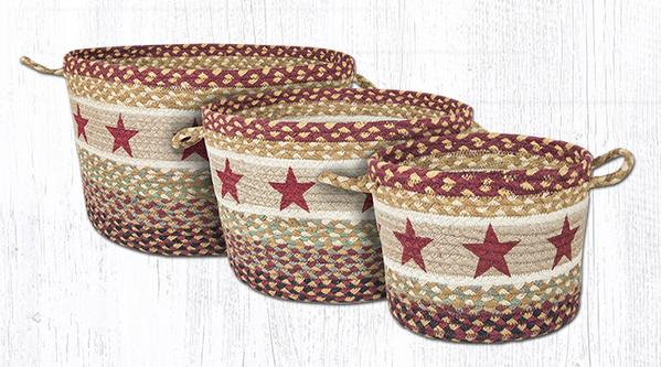 Capitol Earth Rugs Burgundy Star Printed Utility Basket Collection