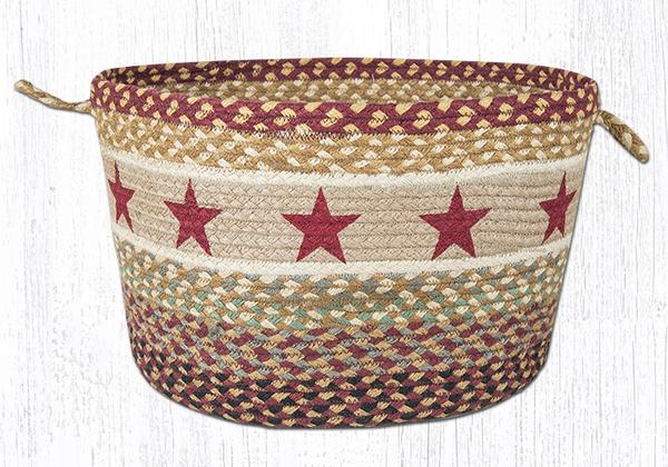 "Capitol Earth Rugs Burgundy Star Printed Utility Basket, Large 17"" x 11"""