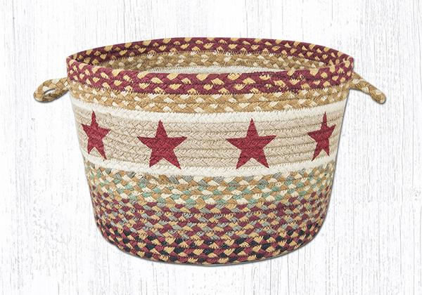 "Capitol Earth Rugs Burgundy Star Printed Utility Basket, Medium 13"" x 9"""