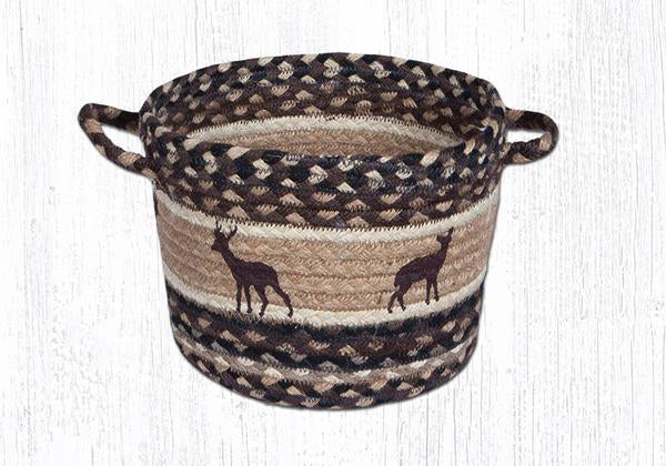 "Capitol Earth Rugs Deer Silhouette Printed Utility Basket, Small 9"" x 7"""