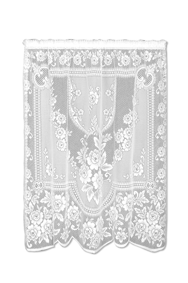 Heritage Lace Victorian Rose Curtain Collection - White, Panel