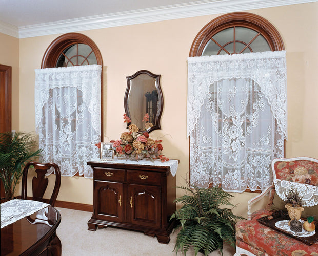 Heritage Lace Victorian Rose Curtain Collection - White