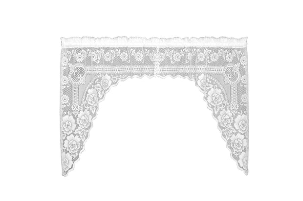 Heritage Lace Victorian Rose Curtain Collection - White, Swag Pair