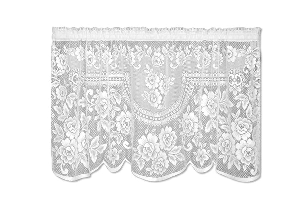 Heritage Lace Victorian Rose Curtain Collection - White, Tier