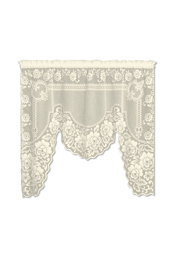 "Heritage Lace Victorian Rose One-Piece Swag, Ecru, 60"" Wide x 48""/34"" Drop"
