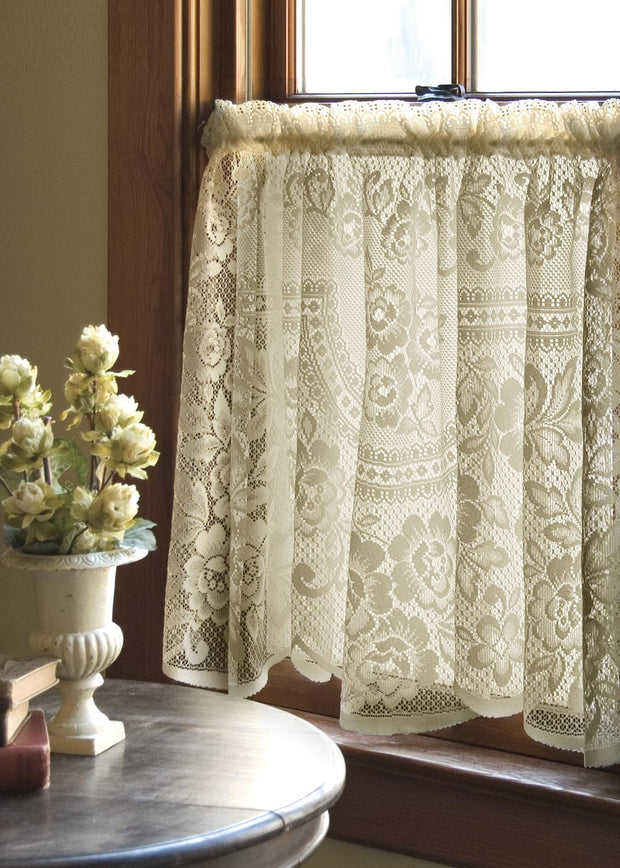 "Heritage Lace Victorian Rose Tier, Ecru, 60"" Wide x 30"" Drop"