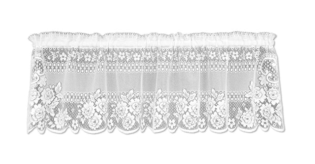 Heritage Lace Victorian Rose Curtain Collection - White, Valance