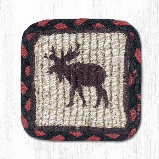 "Capitol Earth Rugs Individual Printed Braided Jute 5"" Square Coaster, Moose"