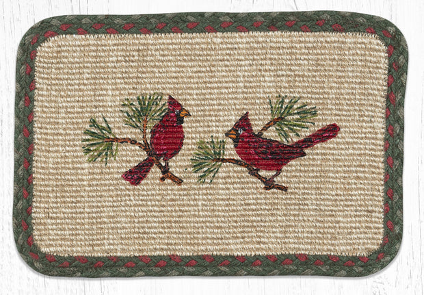 "Capitol Earth Rugs Cardinal Printed Jute Placemat, 13"" x 19"" Oblong"