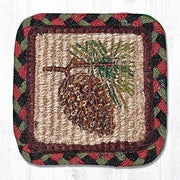 "Capitol Earth Rugs Individual Printed Braided Jute 5"" Square Coaster, Pinecone"
