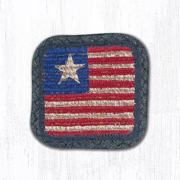 "Capitol Earth Rugs Individual Printed Braided Jute 5"" Square Coaster, Original Flag"