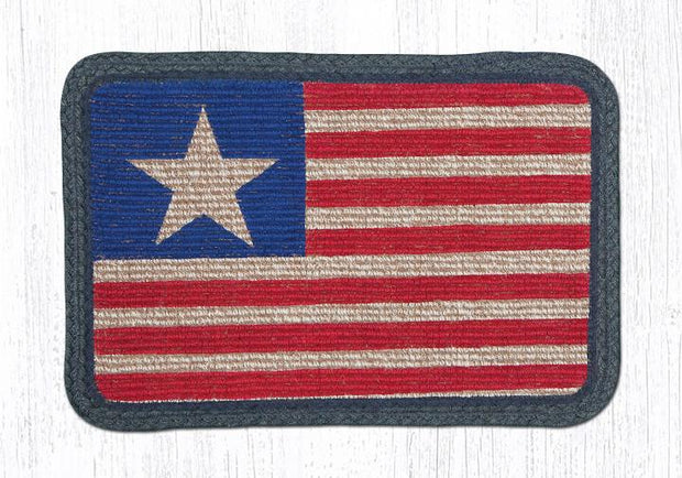 "Capitol Earth Rugs Oblong Printed Jute Placemat, 13"" x 19"", Original Flag"