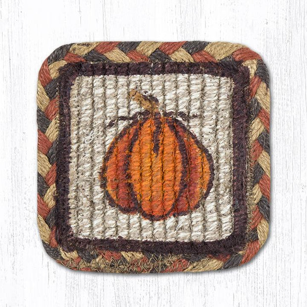 "Capitol Earth Rugs Individual Printed Braided Jute 5"" Square Coaster, Harvest Pumpkin"