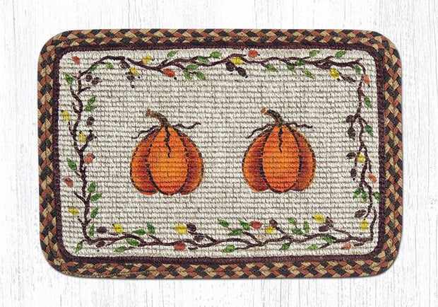 "Capitol Earth Rugs Oblong Printed Jute Placemat, 13"" x 19"", Harvest Pumpkin"