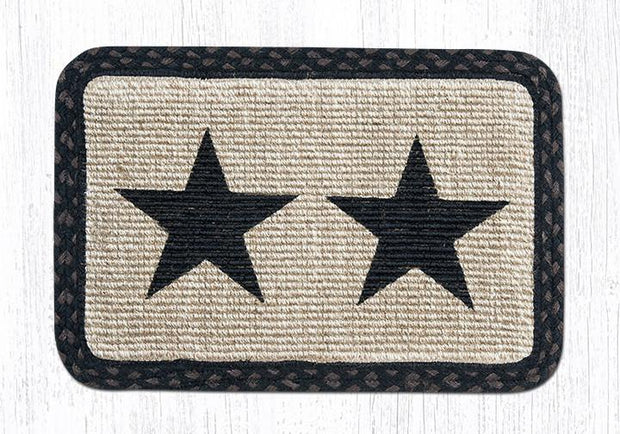 "Capitol Earth Rugs Oblong Printed Jute Placemat, 13"" x 19"", Black Stars"