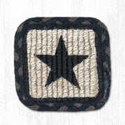 "Capitol Earth Rugs Individual Printed Braided Jute 5"" Square Coaster, Black Star"