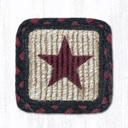 "Capitol Earth Rugs Individual Printed Braided Jute 5"" Square Coaster, Burgundy Star"