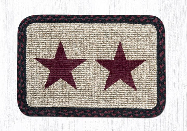 "Capitol Earth Rugs Oblong Printed Jute Placemat, 13"" x 19"", Burgundy Star"