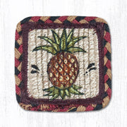 "Capitol Earth Rugs Individual Printed Braided Jute 5"" Square Coaster, Pineapple"