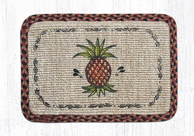 "Capitol Earth Rugs Oblong Printed Jute Placemat, 13"" x 19"", Pineapples"