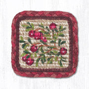 "Capitol Earth Rugs Individual Printed Braided Jute 5"" Square Coaster, Cranberries"