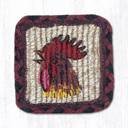 "Capitol Earth Rugs Individual Printed Braided Jute 7"" Coaster, Morning Rooster"