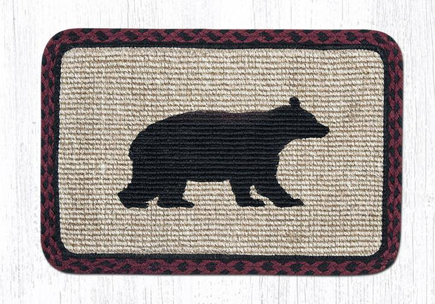 "Capitol Earth Rugs Oblong Printed Jute Placemat, 13"" x 19"", Cabin Bear"
