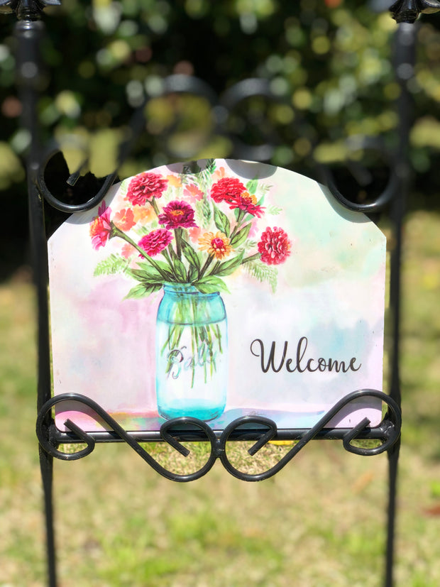 Heritage Gallery Zinnias in Mason Jar Garden Sign