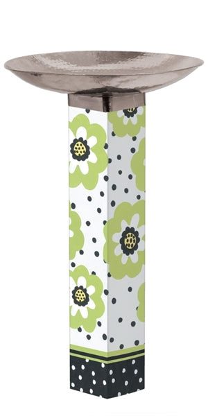 Polka Dots and Flowers Bird Bath Art Pole