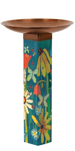 Earth Laughs in Flowers Bird Bath Art Pole