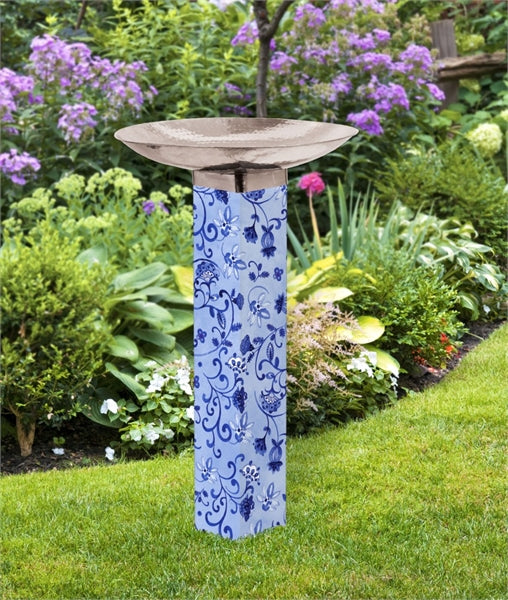 Garden Blues Bird Bath Art Pole
