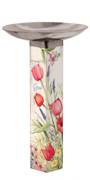 Bloom with Grace Bird Bath Art Pole