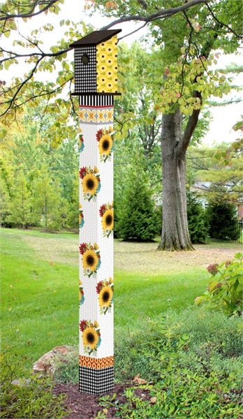 Sunflower Checks 6' Birdhouse Art Pole