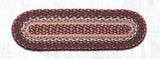 "Capitol Earth Rugs Braided Jute Stair Tread, 8.25"" x 27"" Oval, Burgundy"