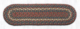 "Capitol Earth Rugs Braided Jute Stair Tread, 8.25"" x 27"" Oval, Burgundy/Grey"