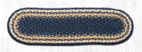 "Capitol Earth Rugs Braided Jute Stair Tread, 8.25"" x 27"" Oval, Light & Dark Blue/Mustard"